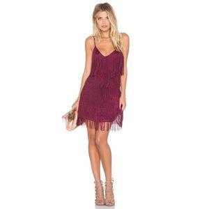 L+F Moon Dance Dress Berry Fringe Flapper V-Neck